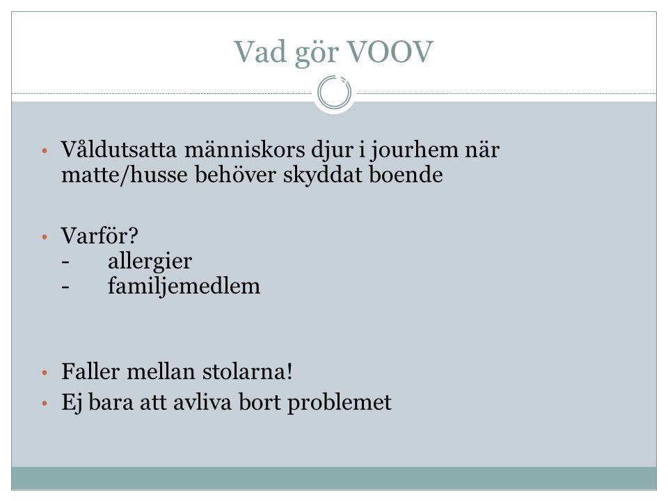 Varför behövs VOOV? • Våldutsatta människors djur i jourhem när matte/husse behöver skyddat boende • Varför? - allergier -familjemedlem • Faller mella