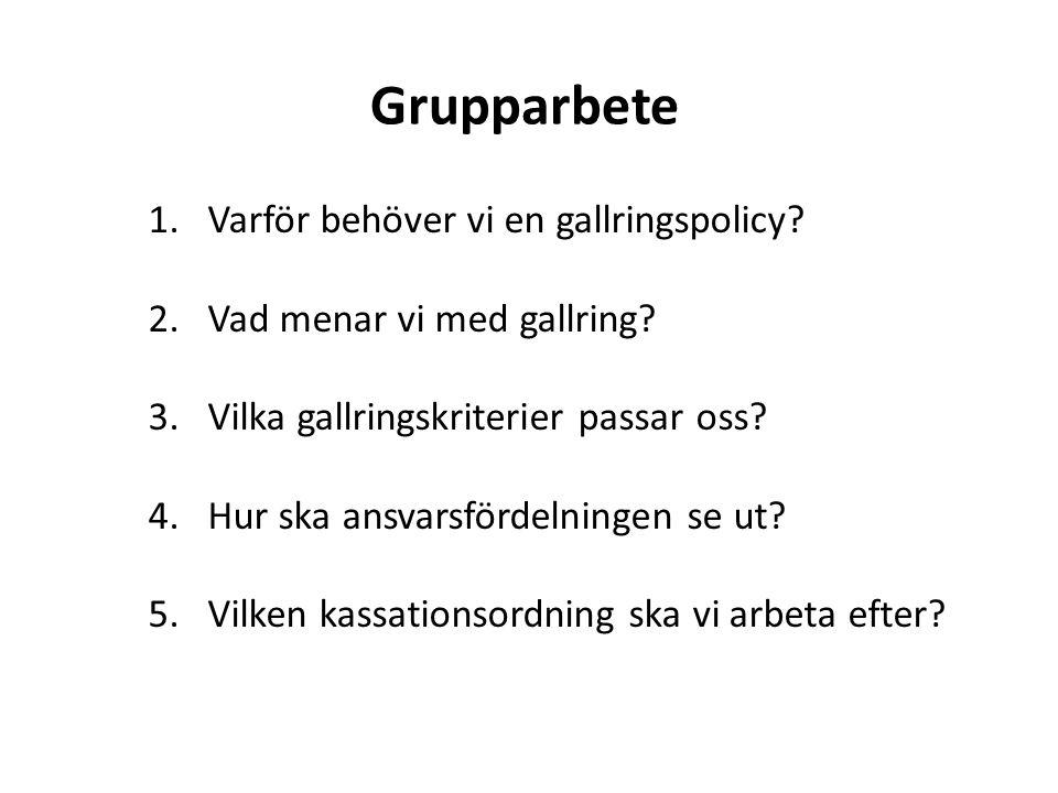 Grupparbete 1.Varför behöver vi en gallringspolicy? 2.Vad menar vi med gallring? 3.Vilka gallringskriterier passar oss? 4.Hur ska ansvarsfördelningen