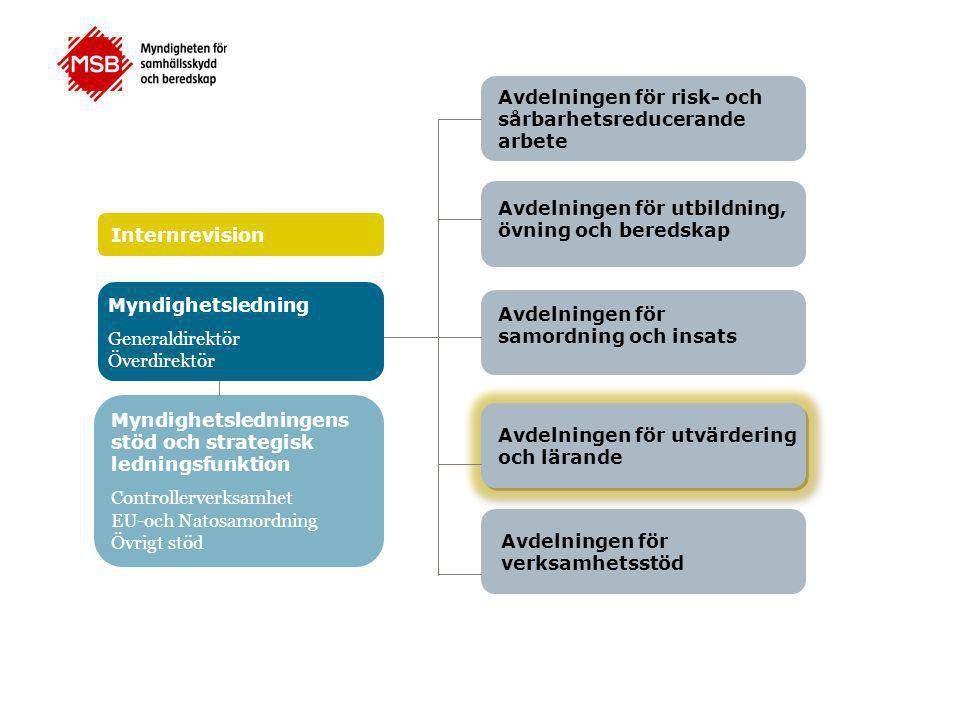 Avdelningen för risk- och sårbarhetsreducerande arbete Avdelningen för utbildning, övning och beredskap Avdelningen för samordning och insats Avdelningen för utvärdering och lärande Avdelningen för verksamhetsstöd Myndighetsledning Generaldirektör Överdirektör Myndighetsledningens stöd och strategisk ledningsfunktion Controllerverksamhet EU-och Natosamordning Övrigt stöd Internrevision