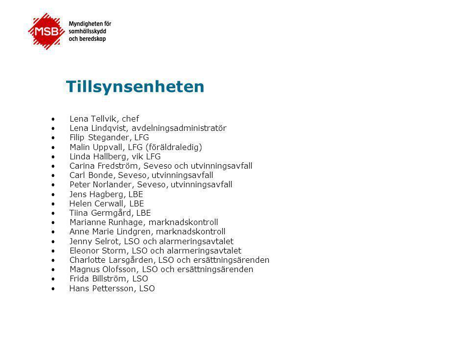 Tillsynsenheten •Lena Tellvik, chef •Lena Lindqvist, avdelningsadministratör •Filip Stegander, LFG •Malin Uppvall, LFG (föräldraledig) •Linda Hallberg, vik LFG •Carina Fredström, Seveso och utvinningsavfall •Carl Bonde, Seveso, utvinningsavfall •Peter Norlander, Seveso, utvinningsavfall •Jens Hagberg, LBE •Helen Cerwall, LBE •Tiina Germgård, LBE •Marianne Runhage, marknadskontroll •Anne Marie Lindgren, marknadskontroll •Jenny Selrot, LSO och alarmeringsavtalet •Eleonor Storm, LSO och alarmeringsavtalet •Charlotte Larsgården, LSO och ersättningsärenden •Magnus Olofsson, LSO och ersättningsärenden •Frida Billström, LSO •Hans Pettersson, LSO