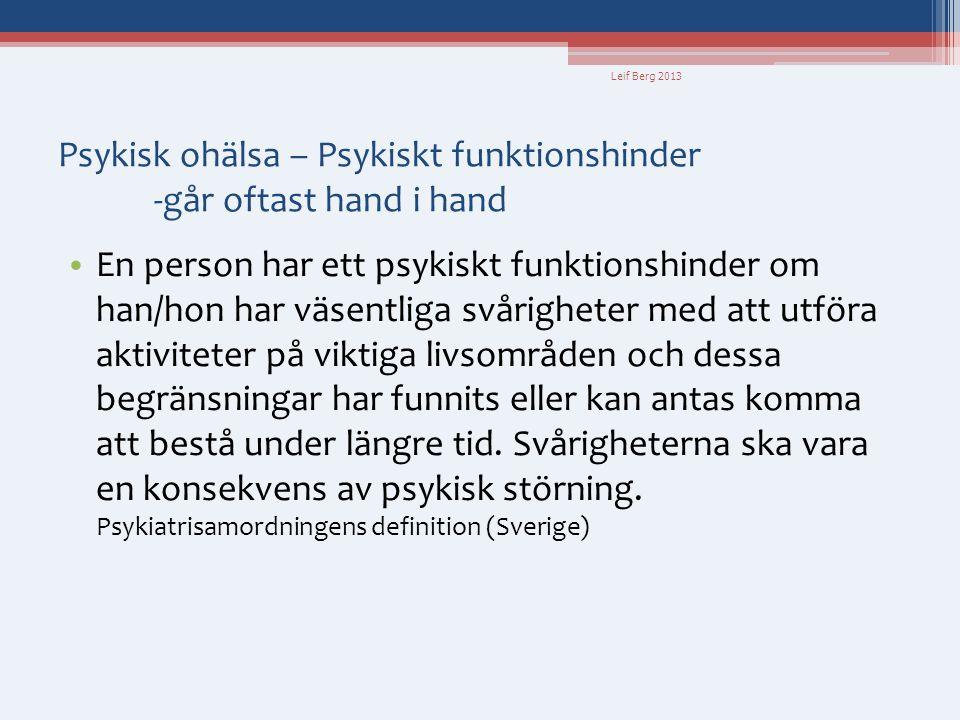 Leif Berg 2013 Begreppsförvirring • Till de psykiska funktionshindren räknas oftast • både symtom och • det som vanligen kallas funktionshinder dvs.