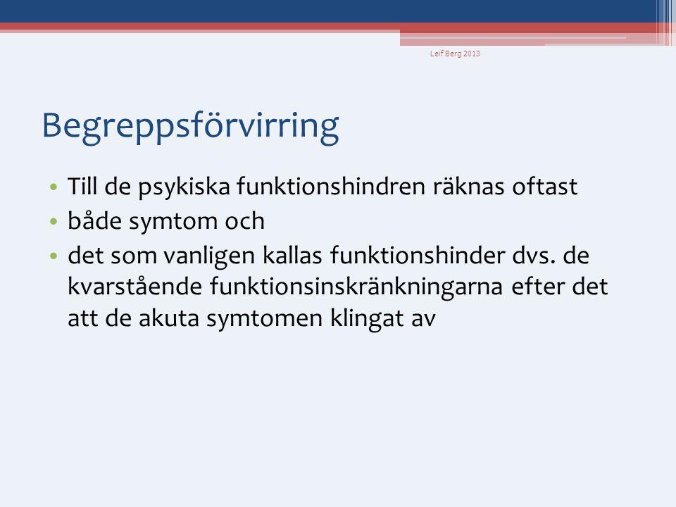 Leif Berg 2013 Begreppsförvirring • Till de psykiska funktionshindren räknas oftast • både symtom och • det som vanligen kallas funktionshinder dvs. d
