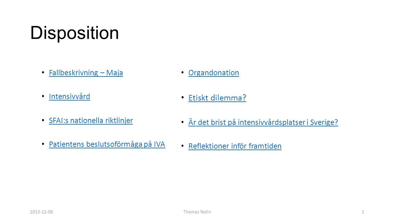 Disposition • Fallbeskrivning – Maja Fallbeskrivning – Maja • Intensivvård Intensivvård • SFAI:s nationella riktlinjer SFAI:s nationella riktlinjer •