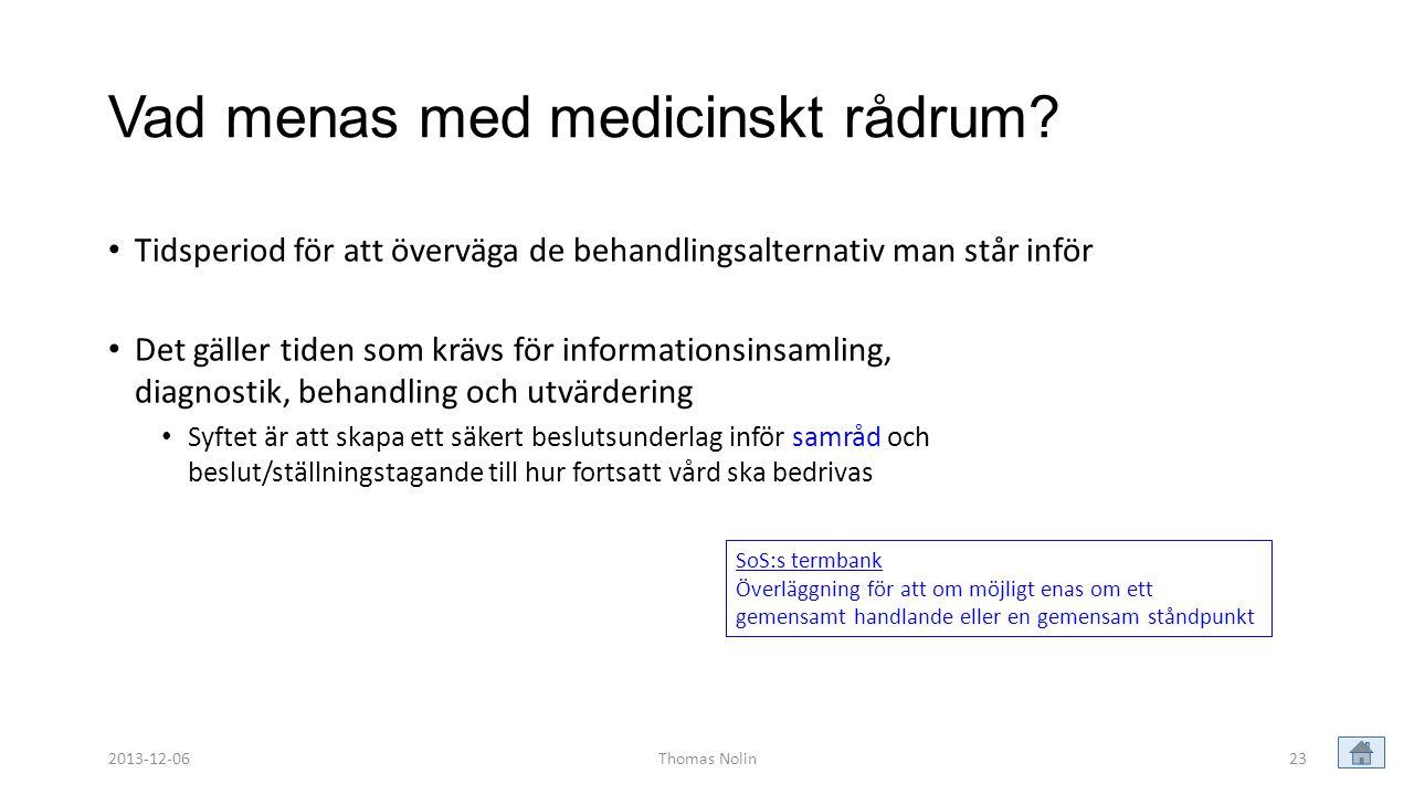 23 Vad menas med medicinskt rådrum? • Tidsperiod för att överväga de behandlingsalternativ man står inför • Det gäller tiden som krävs för information
