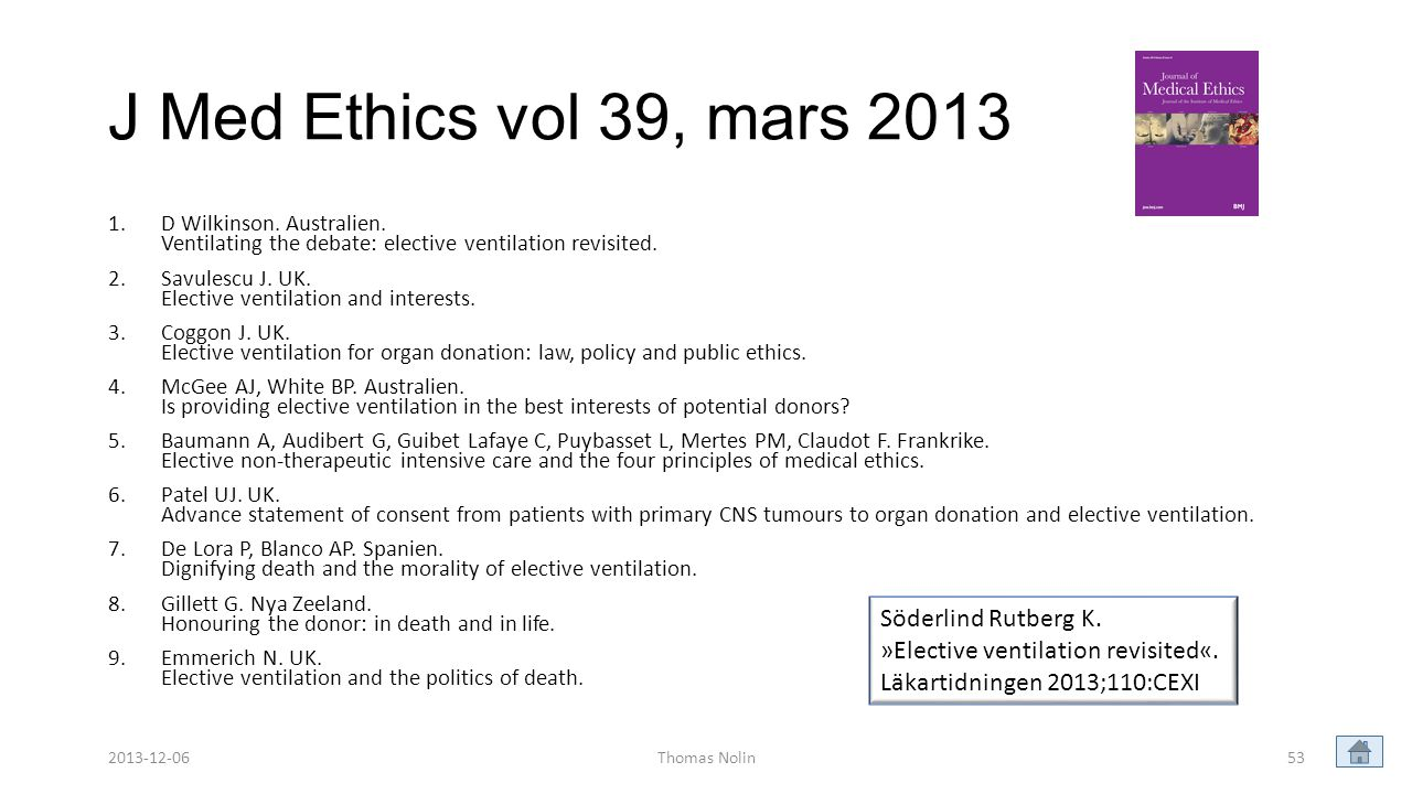 J Med Ethics vol 39, mars 2013 1.D Wilkinson. Australien. Ventilating the debate: elective ventilation revisited. 2.Savulescu J. UK. Elective ventilat