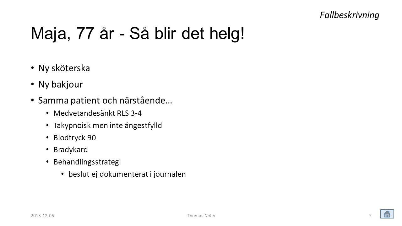 8 Maja, 77 år – Under helgen! Gissa vad som händer nu! Fallbeskrivning Thomas Nolin2013-12-06