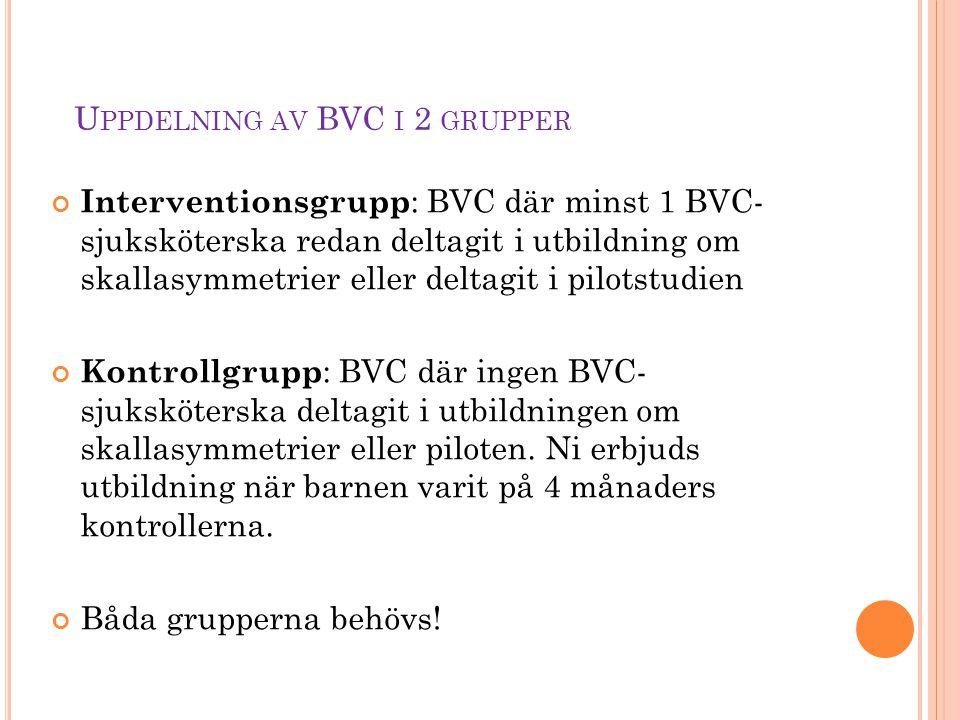 U PPDELNING AV BVC I 2 GRUPPER Interventionsgrupp : BVC där minst 1 BVC- sjuksköterska redan deltagit i utbildning om skallasymmetrier eller deltagit