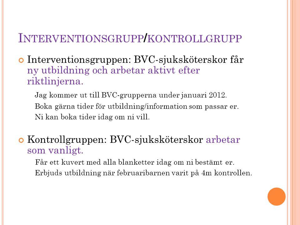 I NTERVENTIONSGRUPP / KONTROLLGRUPP Interventionsgruppen: BVC-sjuksköterskor får ny utbildning och arbetar aktivt efter riktlinjerna. Jag kommer ut ti
