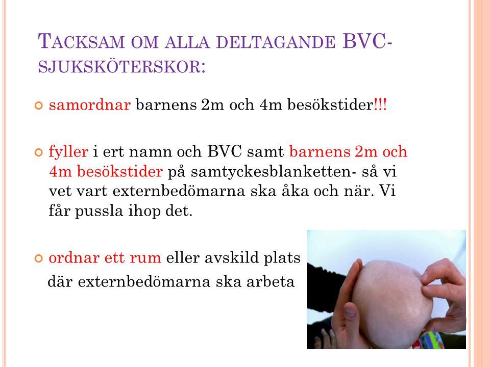 T ACKSAM OM ALLA DELTAGANDE BVC- SJUKSKÖTERSKOR : samordnar barnens 2m och 4m besökstider!!! fyller i ert namn och BVC samt barnens 2m och 4m besöksti