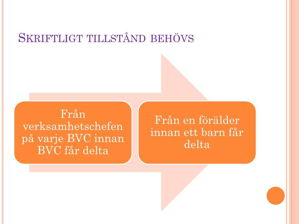 S KRIFTLIGT TILLSTÅND BEHÖVS Från verksamhetschefen på varje BVC innan BVC får delta Från en förälder innan ett barn får delta