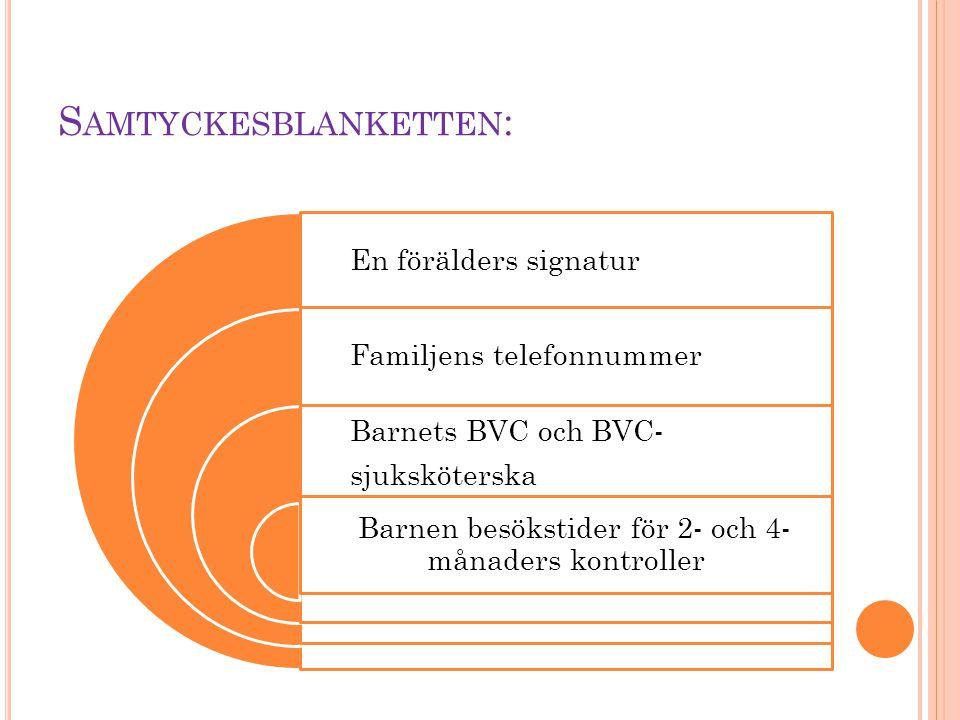 S AMTYCKESBLANKETTEN : En förälders signatur Familjens telefonnummer Barnets BVC och BVC- sjuksköterska Barnen besökstider för 2- och 4- månaders kont