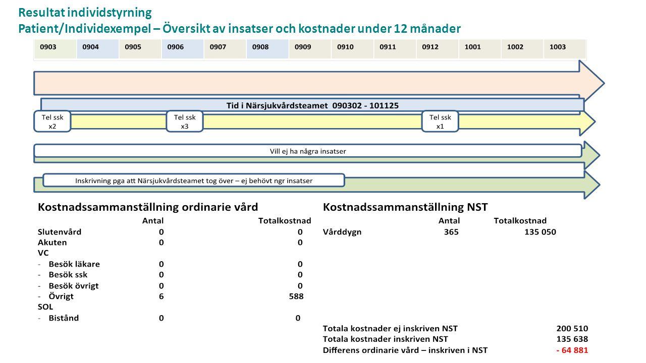 Resultat individstyrning Patient/Individexempel – Översikt av insatser och kostnader under 12 månader
