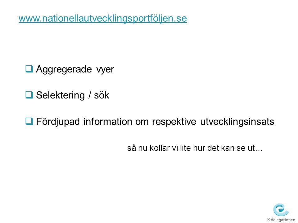 www.nationellautvecklingsportföljen.se  Aggregerade vyer  Selektering / sök  Fördjupad information om respektive utvecklingsinsats så nu kollar vi