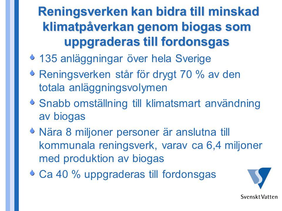 Reningsverken kan bidra till minskad klimatpåverkan genom biogas som uppgraderas till fordonsgas Reningsverken kan bidra till minskad klimatpåverkan g