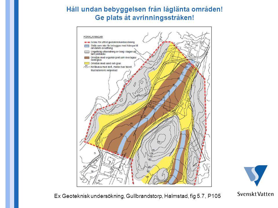 Håll undan bebyggelsen från låglänta områden! Ge plats åt avrinningsstråken! Ex Geoteknisk undersökning, Gullbrandstorp, Halmstad, fig 5.7, P105