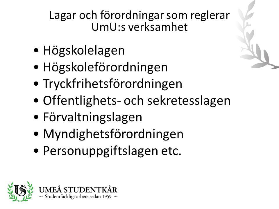 Lagar och förordningar som reglerar UmU:s verksamhet • Högskolelagen • Högskoleförordningen • Tryckfrihetsförordningen • Offentlighets- och sekretessl