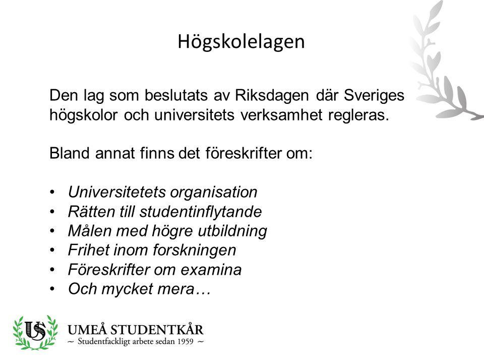 Högskolelagen Den lag som beslutats av Riksdagen där Sveriges högskolor och universitets verksamhet regleras. Bland annat finns det föreskrifter om: •