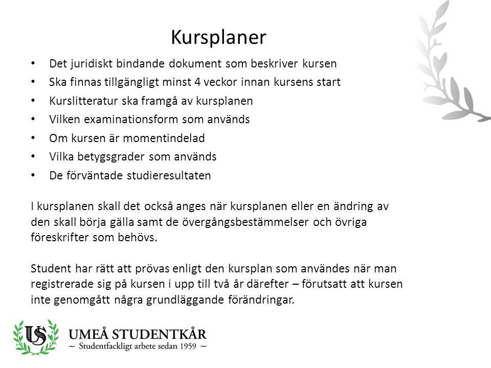 Kursplaner • Det juridiskt bindande dokument som beskriver kursen • Ska finnas tillgängligt minst 4 veckor innan kursens start • Kurslitteratur ska fr