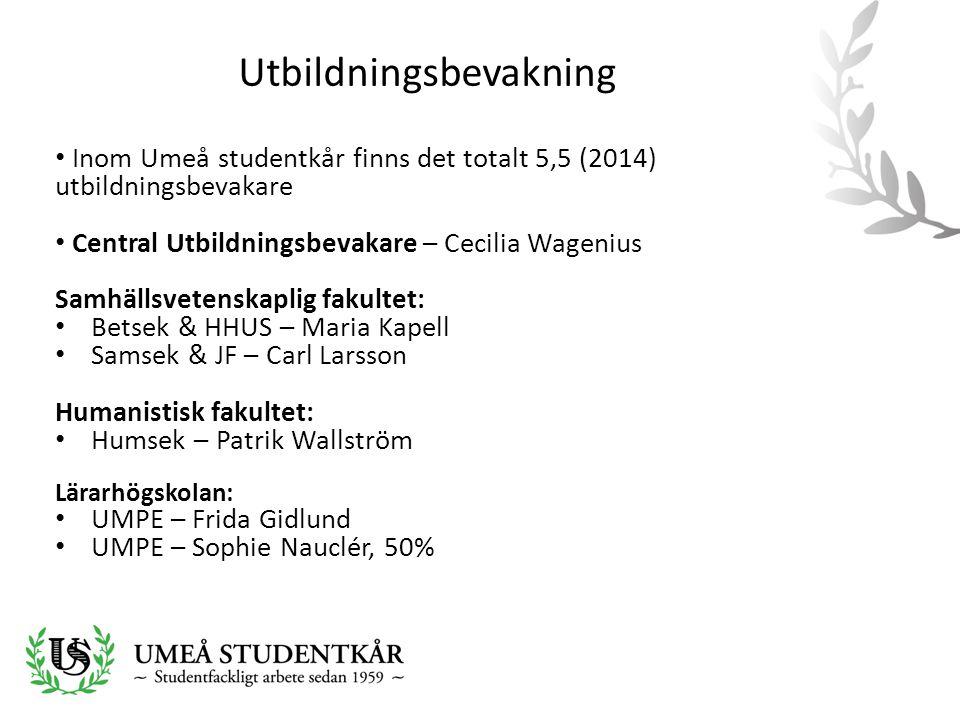 Utbildningsbevakning • Inom Umeå studentkår finns det totalt 5,5 (2014) utbildningsbevakare • Central Utbildningsbevakare – Cecilia Wagenius Samhällsv