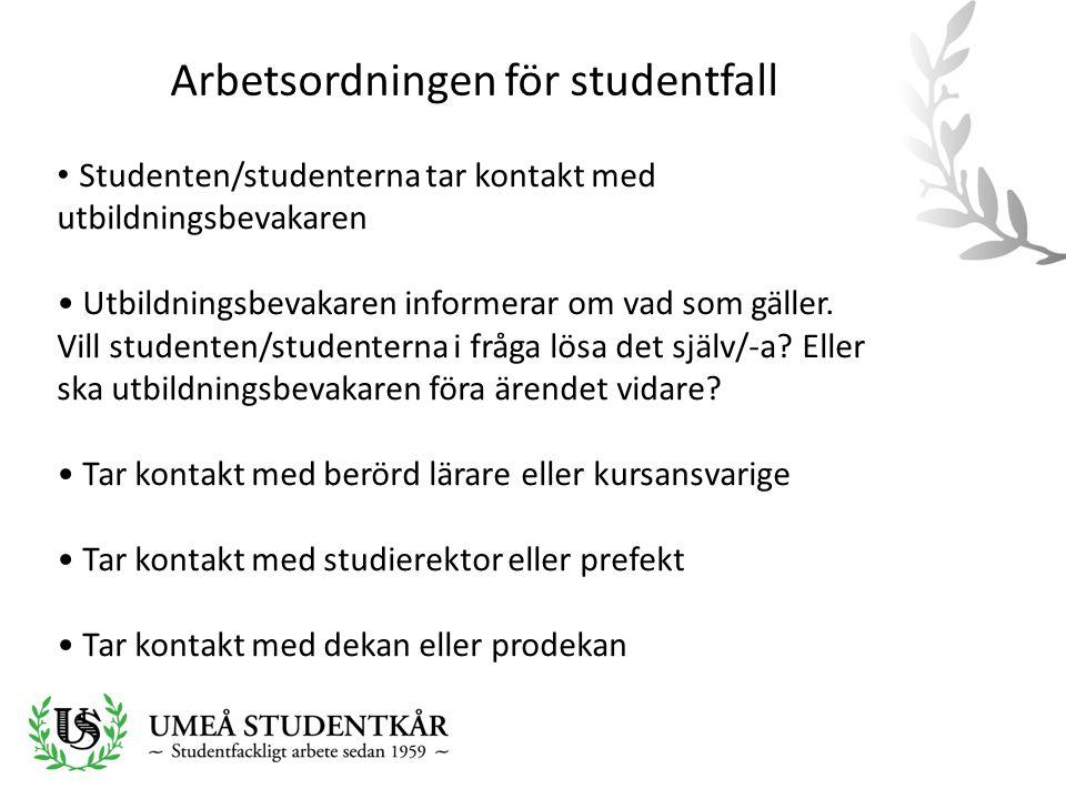 Arbetsordningen för studentfall • Studenten/studenterna tar kontakt med utbildningsbevakaren • Utbildningsbevakaren informerar om vad som gäller.