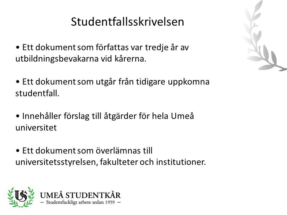 Studentfallsskrivelsen • Ett dokument som författas var tredje år av utbildningsbevakarna vid kårerna. • Ett dokument som utgår från tidigare uppkomna