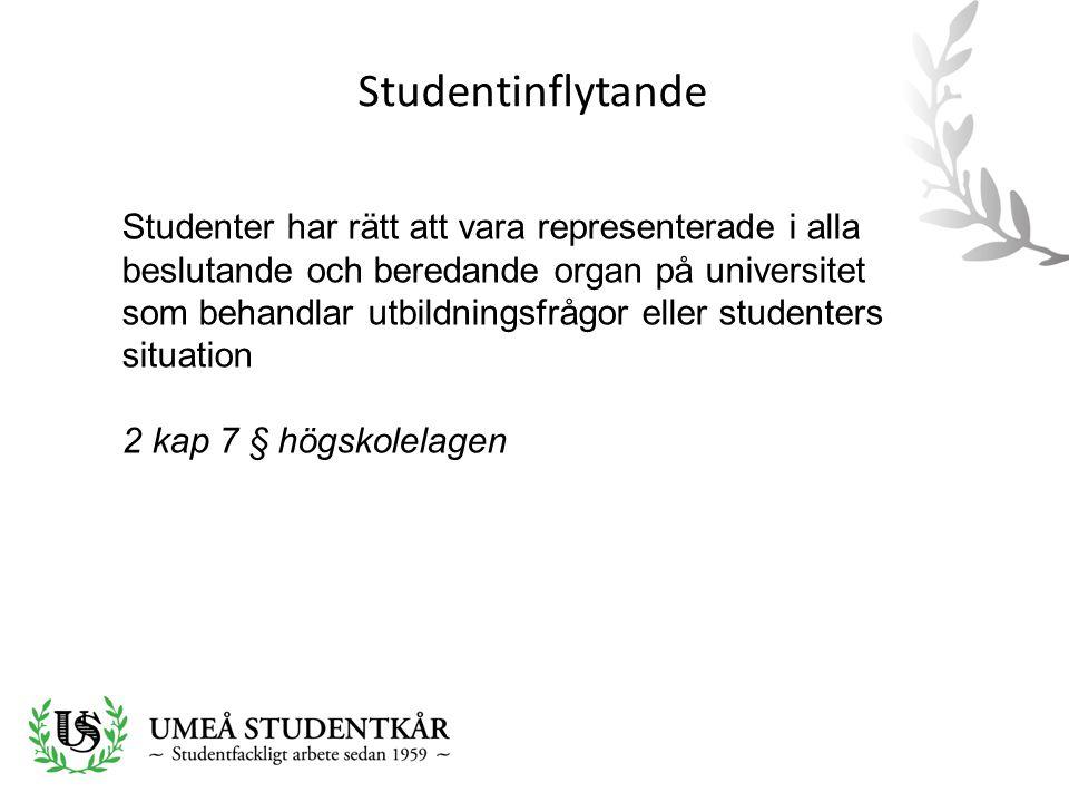 Studentinflytande Studenter har rätt att vara representerade i alla beslutande och beredande organ på universitet som behandlar utbildningsfrågor eller studenters situation 2 kap 7 § högskolelagen