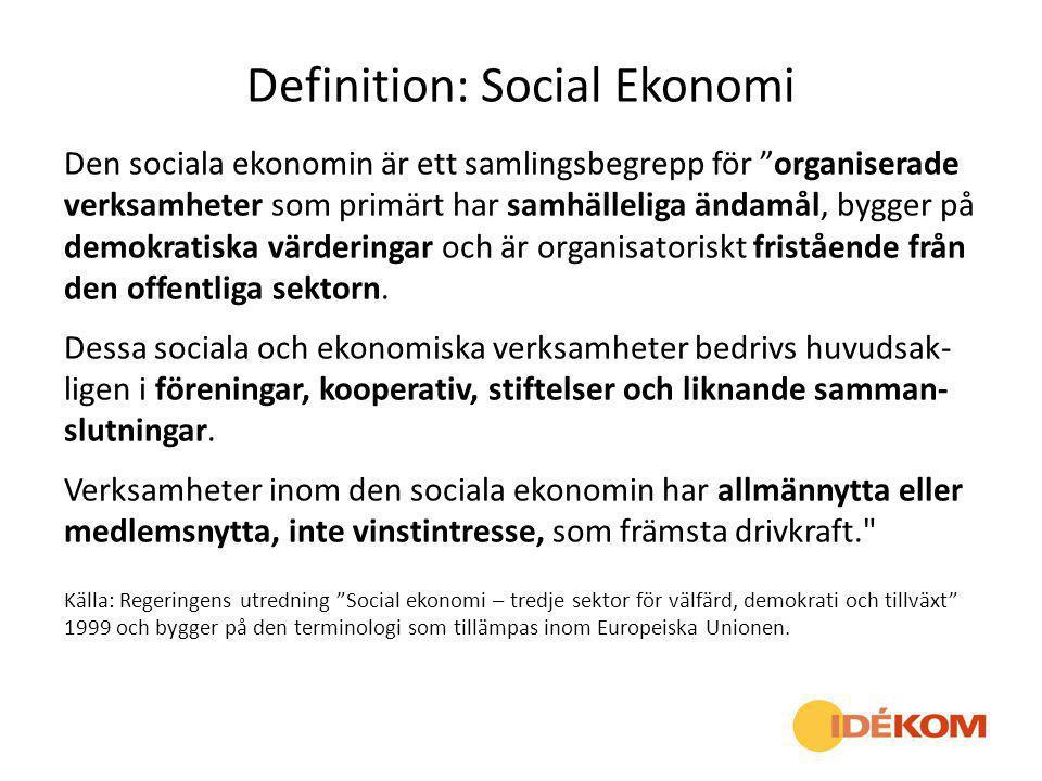 """Definition: Social Ekonomi Den sociala ekonomin är ett samlingsbegrepp för """"organiserade verksamheter som primärt har samhälleliga ändamål, bygger på"""