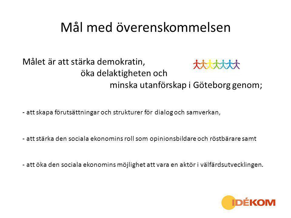 Mål med överenskommelsen Målet är att stärka demokratin, öka delaktigheten och minska utanförskap i Göteborg genom; - att skapa förutsättningar och st