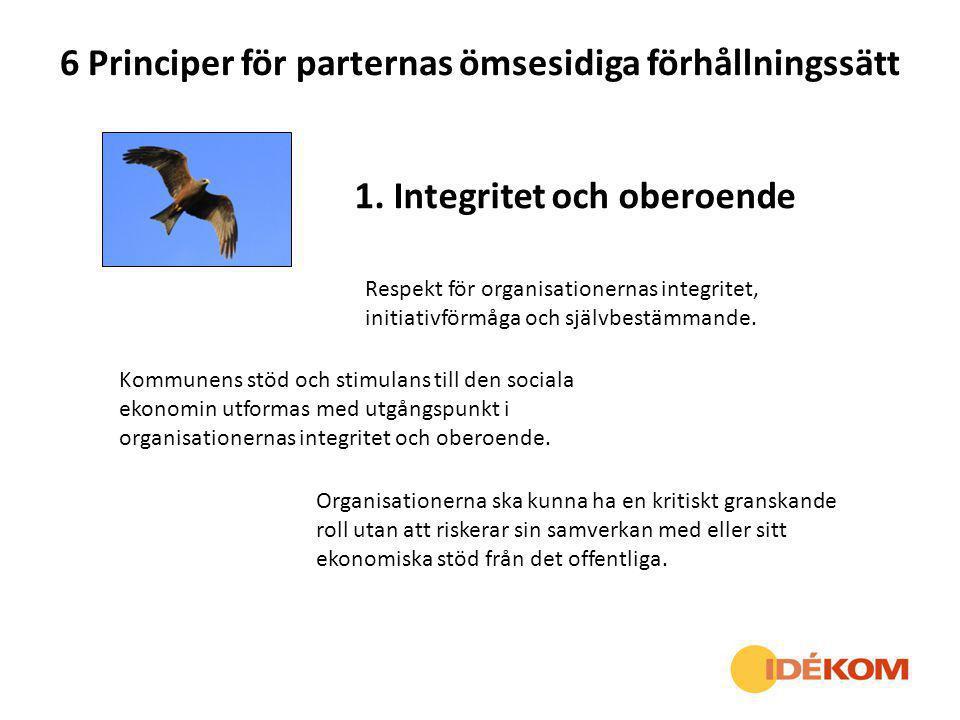 6 Principer för parternas ömsesidiga förhållningssätt 1. Integritet och oberoende Respekt för organisationernas integritet, initiativförmåga och själv