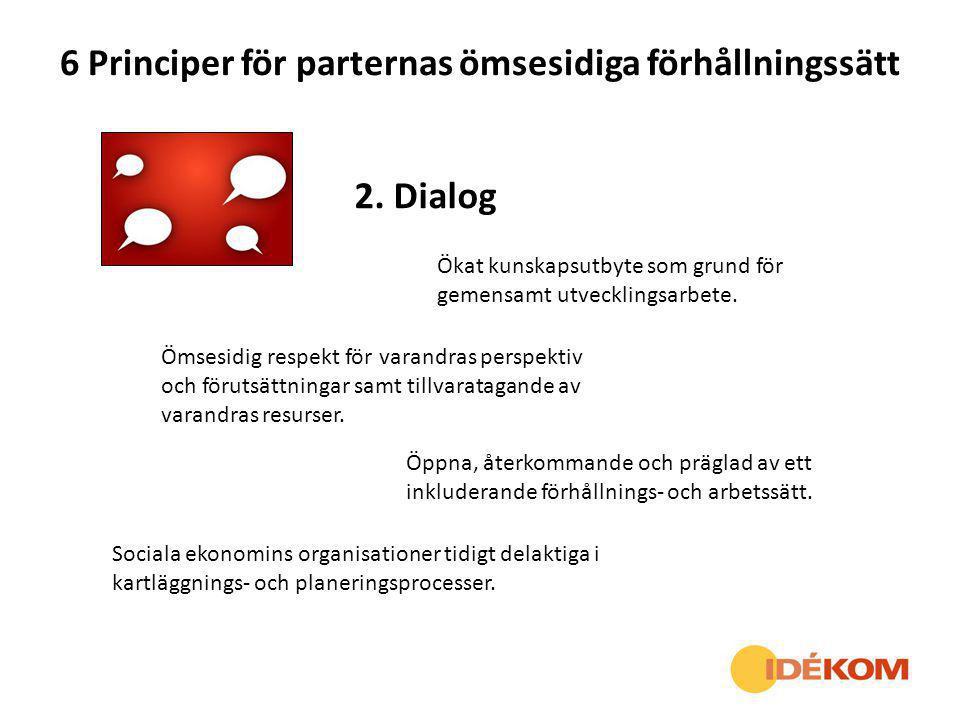 6 Principer för parternas ömsesidiga förhållningssätt 2. Dialog Ökat kunskapsutbyte som grund för gemensamt utvecklingsarbete. Ömsesidig respekt för v