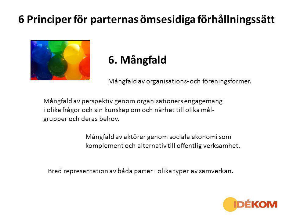 6 Principer för parternas ömsesidiga förhållningssätt 6. Mångfald Mångfald av organisations- och föreningsformer. Mångfald av perspektiv genom organis