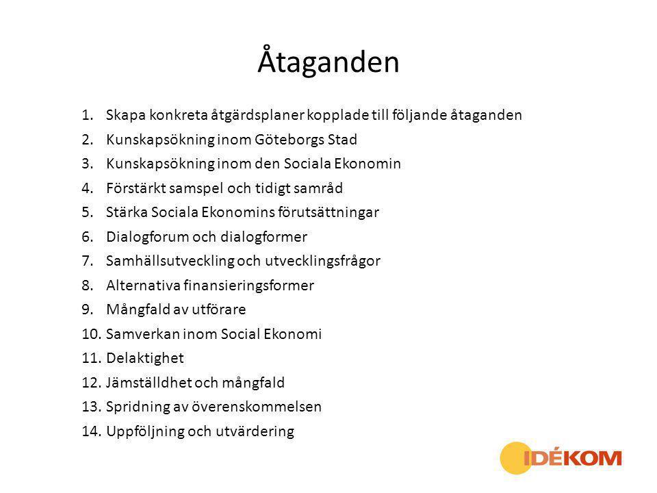 Åtaganden 1.Skapa konkreta åtgärdsplaner kopplade till följande åtaganden 2.Kunskapsökning inom Göteborgs Stad 3.Kunskapsökning inom den Sociala Ekono