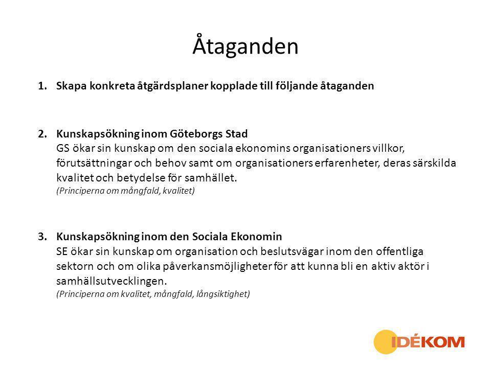 Åtaganden 1.Skapa konkreta åtgärdsplaner kopplade till följande åtaganden 2.Kunskapsökning inom Göteborgs Stad GS ökar sin kunskap om den sociala ekon
