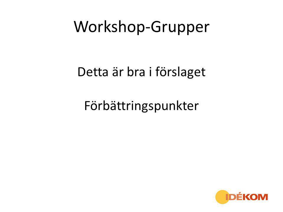 Workshop-Grupper Detta är bra i förslaget Förbättringspunkter
