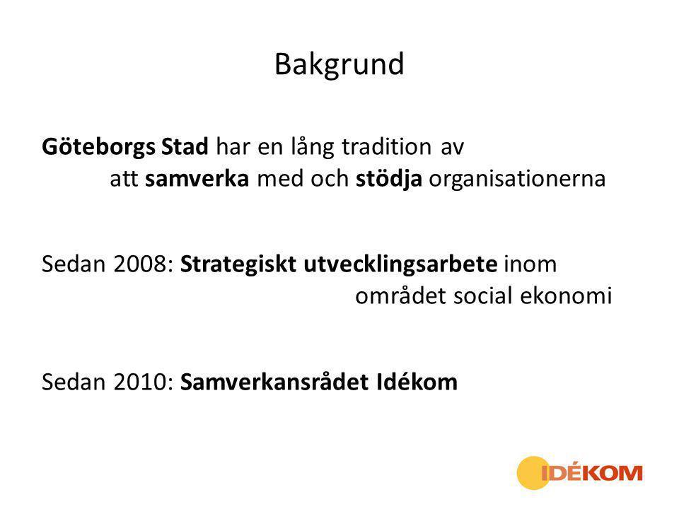 Bakgrund Göteborgs Stad har en lång tradition av att samverka med och stödja organisationerna Sedan 2008: Strategiskt utvecklingsarbete inom området s