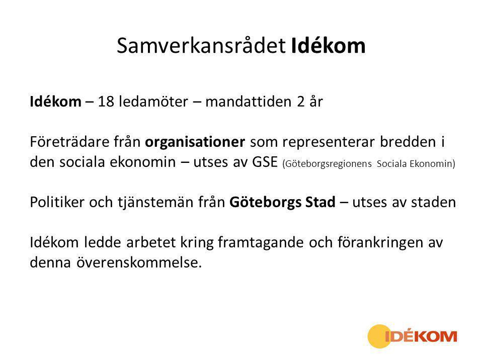 Samverkansrådet Idékom Idékom – 18 ledamöter – mandattiden 2 år Företrädare från organisationer som representerar bredden i den sociala ekonomin – uts