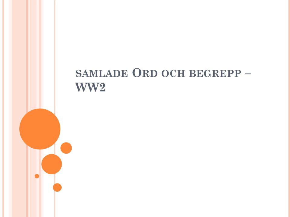SAMLADE O RD OCH BEGREPP – WW2
