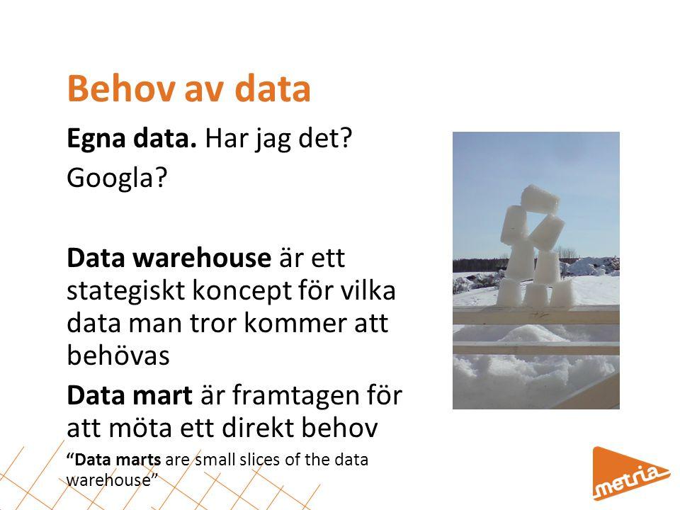 Behov av data Egna data. Har jag det? Googla? Data warehouse är ett stategiskt koncept för vilka data man tror kommer att behövas Data mart är framtag