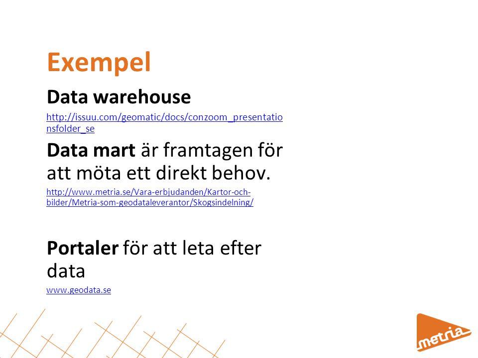 Exempel Data warehouse http://issuu.com/geomatic/docs/conzoom_presentatio nsfolder_se Data mart är framtagen för att möta ett direkt behov. http://www