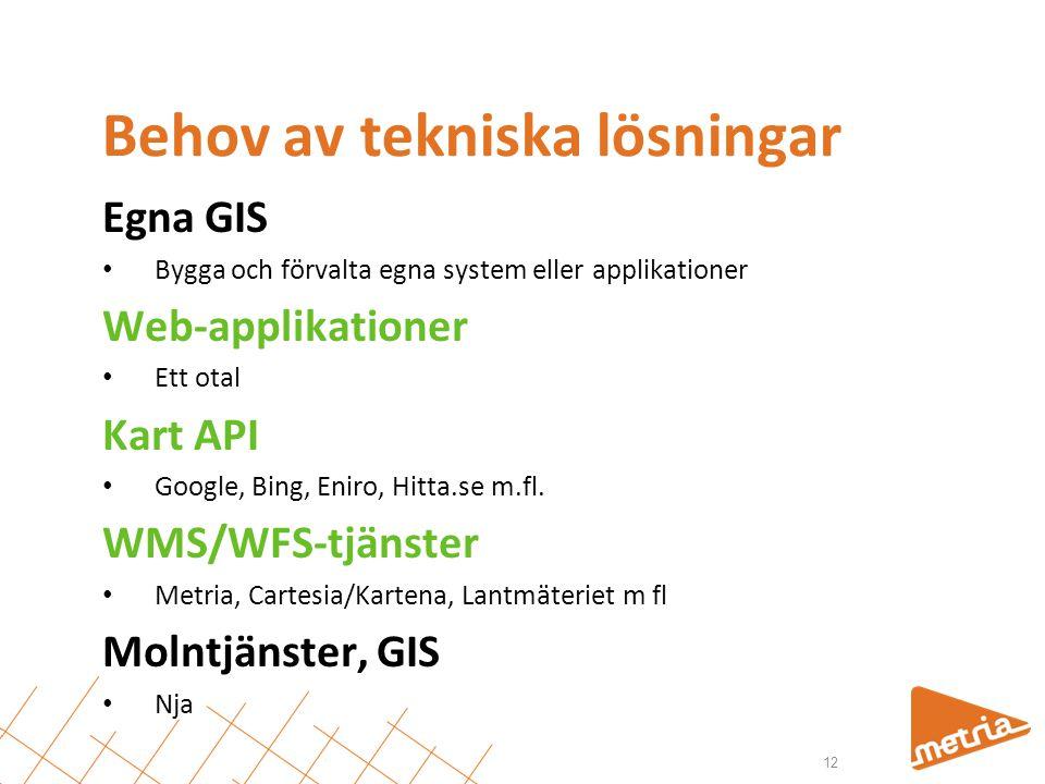 Behov av tekniska lösningar Egna GIS • Bygga och förvalta egna system eller applikationer Web-applikationer • Ett otal Kart API • Google, Bing, Eniro, Hitta.se m.fl.