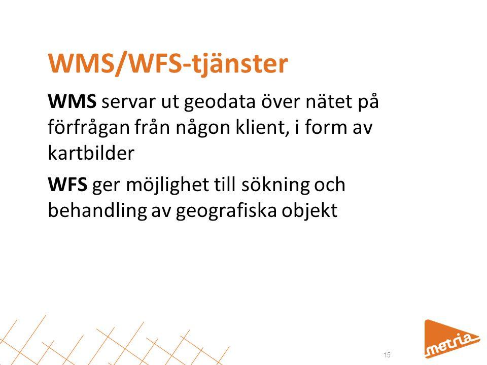 WMS/WFS-tjänster WMS servar ut geodata över nätet på förfrågan från någon klient, i form av kartbilder WFS ger möjlighet till sökning och behandling a