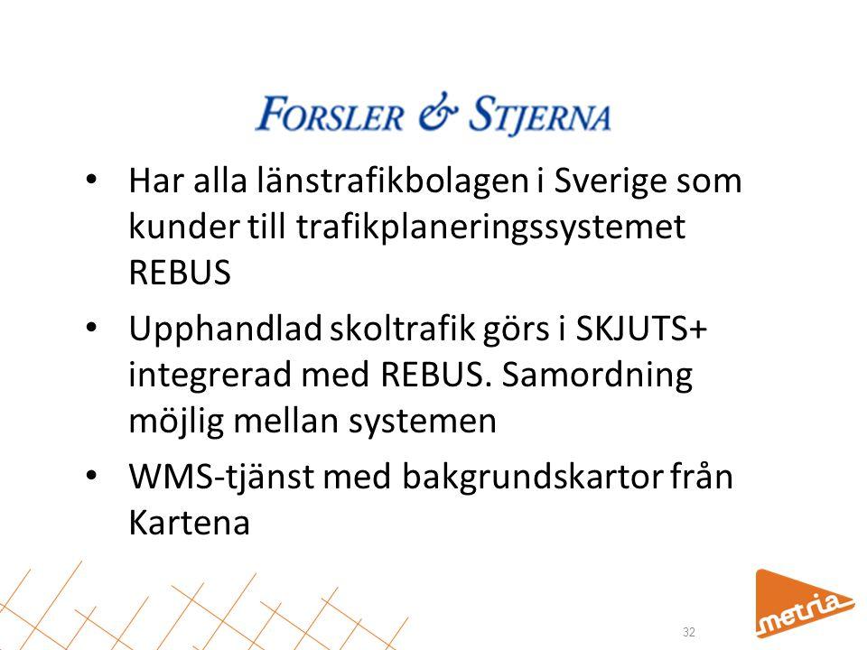 • Har alla länstrafikbolagen i Sverige som kunder till trafikplaneringssystemet REBUS • Upphandlad skoltrafik görs i SKJUTS+ integrerad med REBUS. Sam