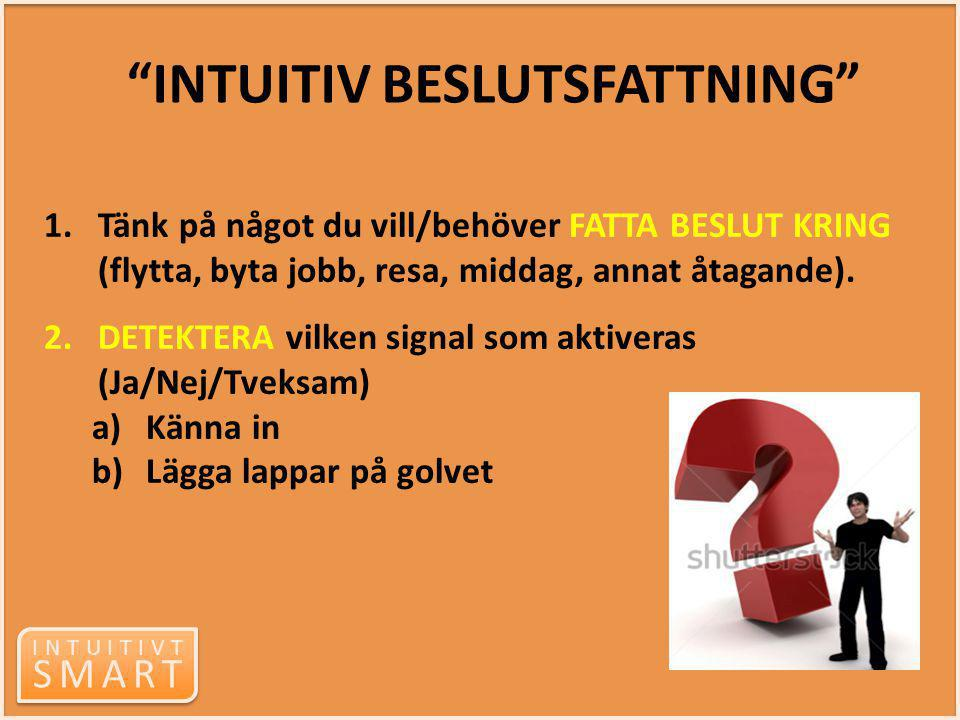 INTUITIVT SMART INTUITIVT SMART 1.Tänk på något du vill/behöver FATTA BESLUT KRING (flytta, byta jobb, resa, middag, annat åtagande). 2.DETEKTERA vilk