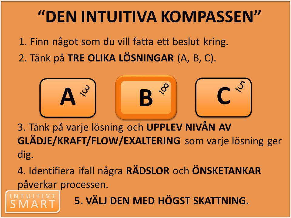 """INTUITIVT SMART INTUITIVT SMART """"DEN INTUITIVA KOMPASSEN"""" 1. Finn något som du vill fatta ett beslut kring. 2. Tänk på TRE OLIKA LÖSNINGAR (A, B, C)."""