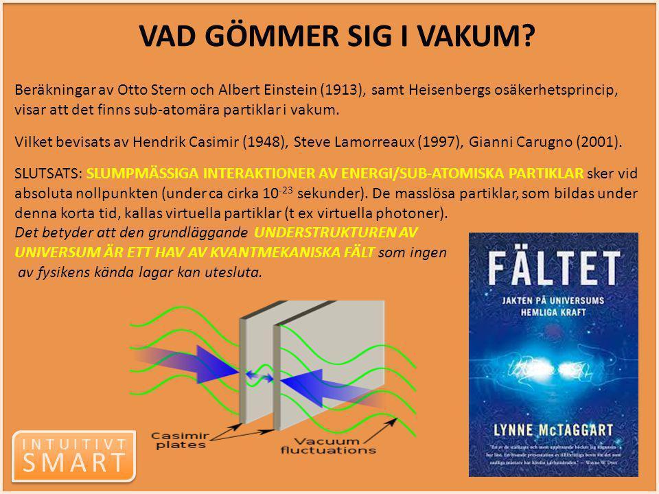 INTUITIVT SMART INTUITIVT SMART Beräkningar av Otto Stern och Albert Einstein (1913), samt Heisenbergs osäkerhetsprincip, visar att det finns sub-atom