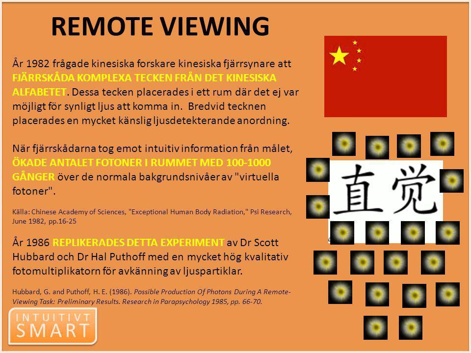 INTUITIVT SMART INTUITIVT SMART År 1982 frågade kinesiska forskare kinesiska fjärrsynare att FJÄRRSKÅDA KOMPLEXA TECKEN FRÅN DET KINESISKA ALFABETET.