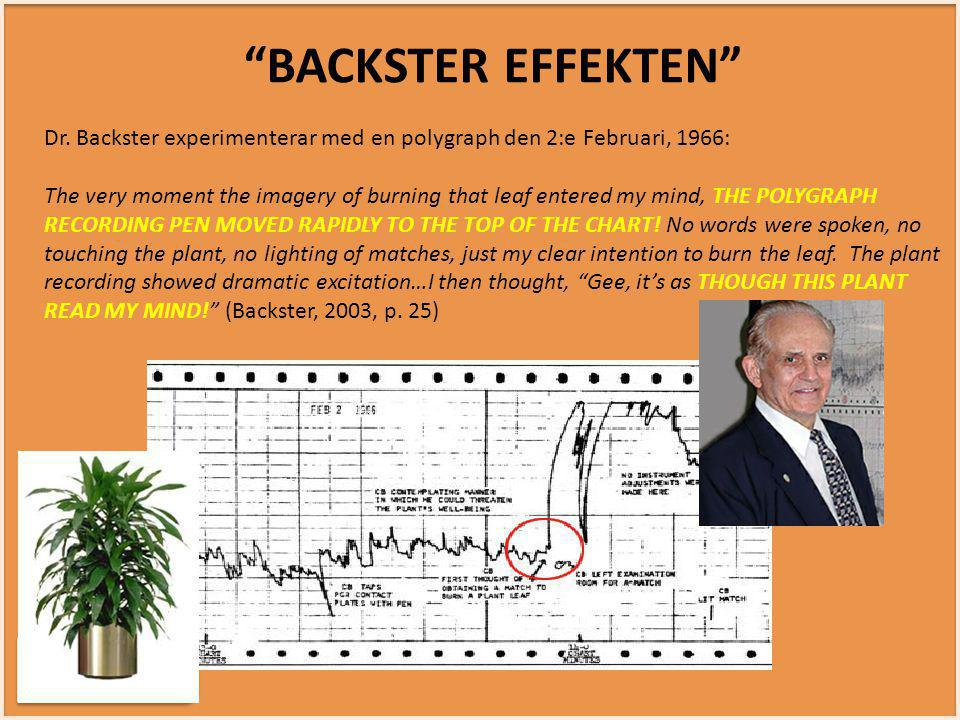 INTUITIVT SMART INTUITIVT SMART Dr. Backster experimenterar med en polygraph den 2:e Februari, 1966: The very moment the imagery of burning that leaf