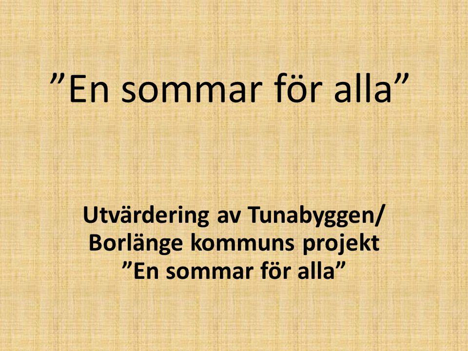"""""""En sommar för alla"""" Utvärdering av Tunabyggen/ Borlänge kommuns projekt """"En sommar för alla"""""""