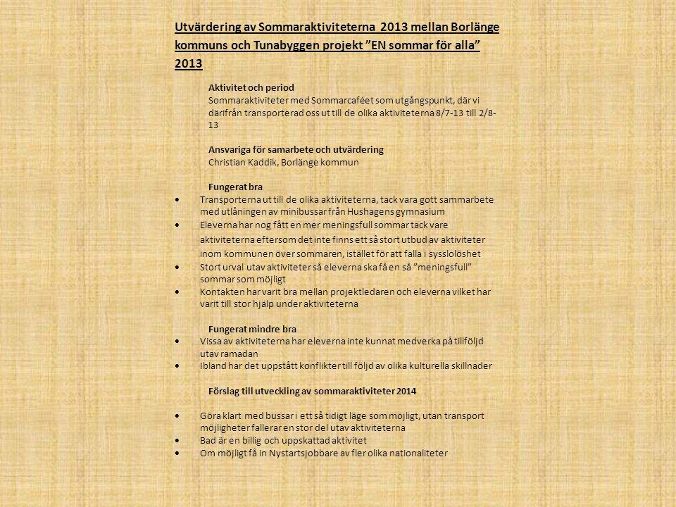 """Utvärdering av Sommaraktiviteterna 2013 mellan Borlänge kommuns och Tunabyggen projekt """"EN sommar för alla"""" 2013 Aktivitet och period Sommaraktivitete"""