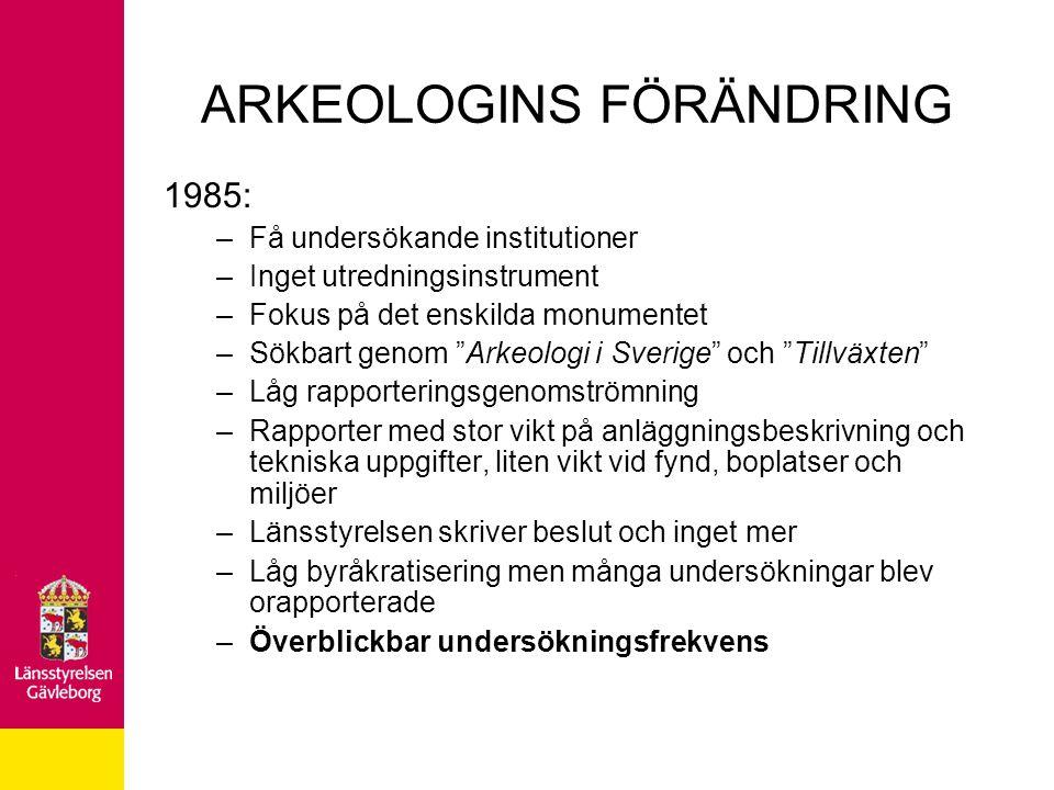 """ARKEOLOGINS FÖRÄNDRING 1985: –Få undersökande institutioner –Inget utredningsinstrument –Fokus på det enskilda monumentet –Sökbart genom """"Arkeologi i"""
